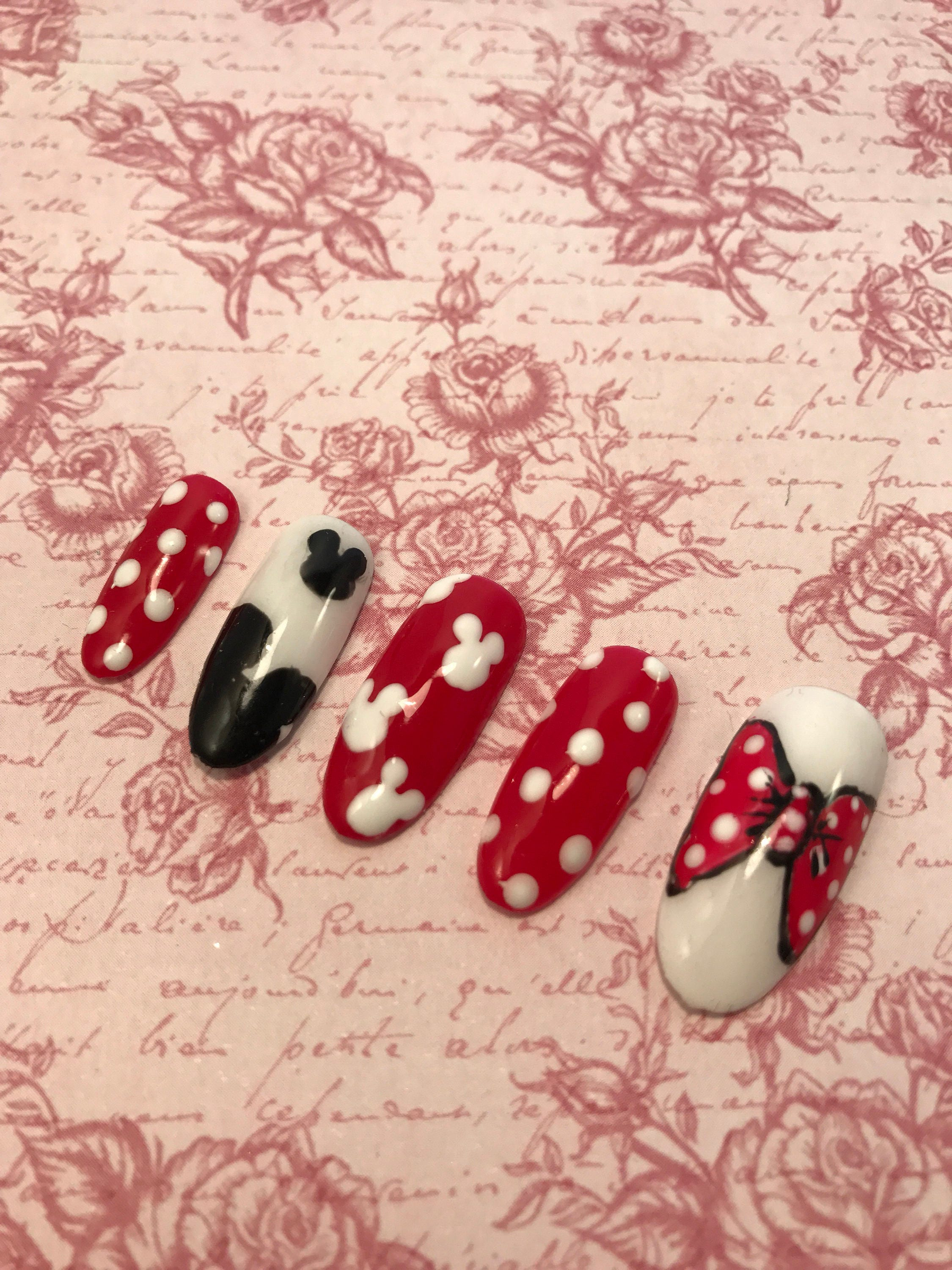 Disney nails. Red with white polka dots. Micky mouse ears. Minnie ...