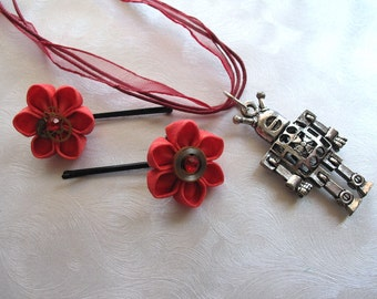 I <3 Robots Red Kanzashi Flowers with Clock Gears and Robot Necklace