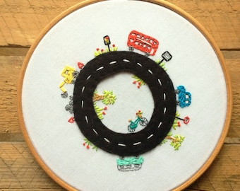 Embroidery hoop art. Custom personalised art. Kids bedroom decor. Road theme bedroom.
