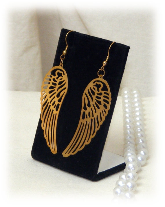 GOLD PLATED WINGS . . Dangle Pierced Earrings