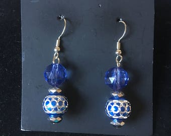 Blue and sliver beaded earrings