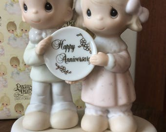 Vintage Enesco / 1983 PRECIOUS MOMENTS COLLECTION / God Bless Our Years Together With So Much Love And Happiness / Figurine