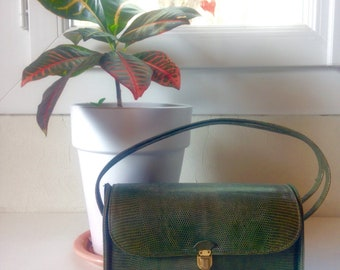 Bag Vintage emerald green leather handmade Pin Up Retro 50s 60s