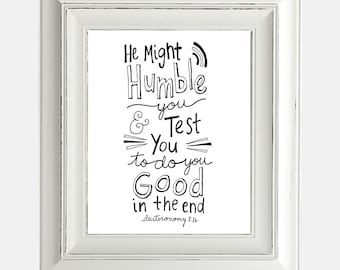 "Digital Download Print ""Humble"" Inspirational Bible Verse Hand Lettering Typography"