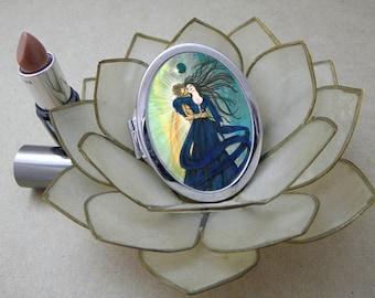 Solar Eclipse, God and Goddess Compact Fantasy Art Mirror