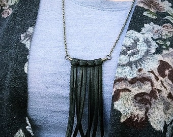 "Handcrafted Leather ""Savannah"" Fringe Necklace, Bohemian Necklace, Leather Fringe, Women's Leather Necklace, Leather Choker, Leather Lace"