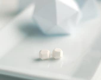 White Geometric Stud Earrings, Gloss Finish - Geo Earrings - Simple - Minimalist - Modern - Lightweight