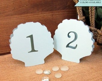 Shell table number - Beach wedding table number - Table numbers wedding - Beach table numbers - Beach wedding decor