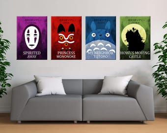 Studio Ghibli colorful poster set, Howl moving castle poster,My Neighbor Totoro poster , Spirited Away poster, Princess Mononoke poster,