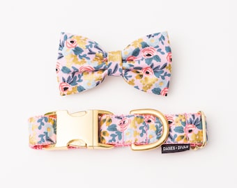 Pink & Gold Dog Collar and Bow Tie - Metallic Floral Cat or Dog Collar - Les Fleures Menagerie