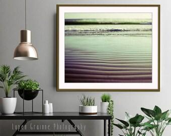 "Beach Photography - Jade Green Wall Art - California Ocean Wave Print - Sand Ripples - Minimal Beach Wall Art  ""Ebb and Flow"""