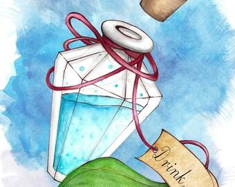 Fantasy fairytale watercolor drawing/PRINT - Alice in Wonderland - Drink Me Potion