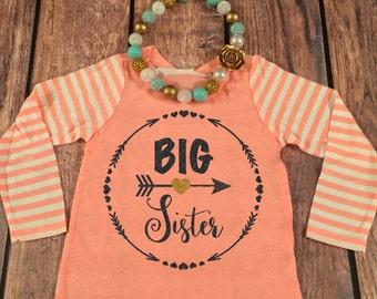 Big Sister Shirt Little Sister Shirt Personalized Shirt Sibling Shirts Sister Shirt Pregnancy Announcement Shirt Baby Announcement Shirt