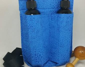 Massage Therapy double 8oz lotion bottle hip holster, cobalt crackle, black belt