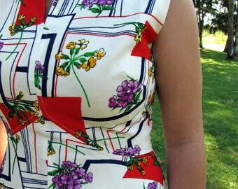 Vintage 1970s Maxi Empire Dress | Summer Dress | Bold Red Triangles | Violet Flowers | Medium