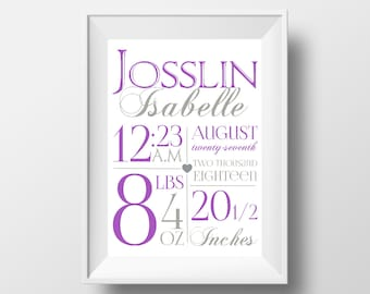 Birth Stat Print, Birth Stats, Birth Information print, Custom Birth Print, Baby Birth Print, Girl Birth Stats, Choose Your Own Colors