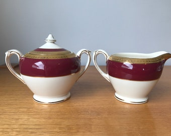 """Crown Ducal """"Admiral Red"""" Vintage Cream and Sugar set, Red and Gold Stripe Creamer and Sugar Bowl with Lid, English Maroon Milk Pitcher"""
