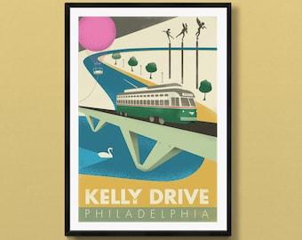 Kelly Drive | Philadelphia art | Philadelphia skyline | Philadelphia print | SEPTA | Philadelphia poster | Philadelphia gift | Philly decor