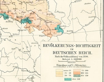 German Empire population density map print 19th century population growth map print : Antique 1890s lithograph, extra text