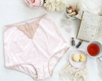 Romantic Pastel Vintage Style Satin and Lace 'Leah' High Waist Pin Up Knickers in Blush Pink with Beige Lace