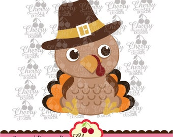 Thanksgiving Baby Turkey boy Svg Dxf,Thanksgiving Silhouette & Cricut Cut Files DGTH18 -Personal and Commercial Use