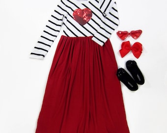 Girl Valentine's Day Red Maxi Dress with Heart, Maxi Dress, Girls Maxi Dresses, Dresses Sizes 3/4, 4/5, 6/6X, 7/8, 10/12 - Ready to Ship
