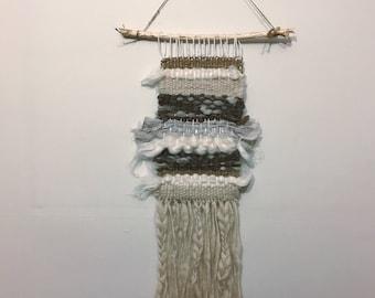 Natural woven wallhanging weaving wool