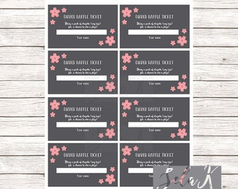 Cherry Blossom Pink and Gray Baby Shower Diaper Raffle Tickets