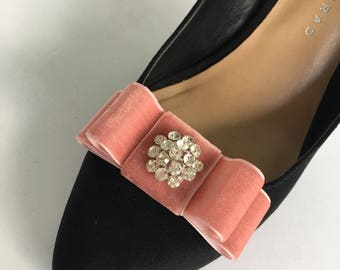 Dusty Rose Blush Pink Velvet Bow Plain or with Rhinestone Center Shoe Clips Set Of Two