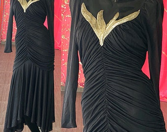 Sequin Disco Dress Party Prom Evening Dress Vintage 80s Dress