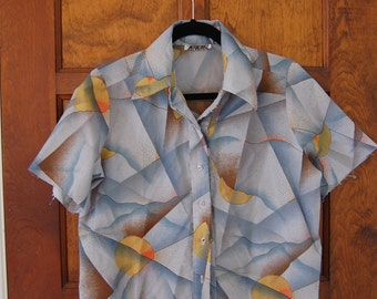 Trippy Psychedlic Vintage 60s Moonscape Geometric Men's Collared Shirt Unisex