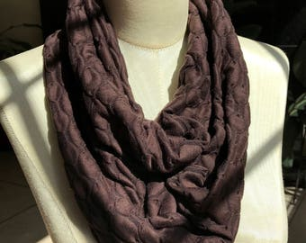 Infinity Scarf - Chocolate Brown Textured