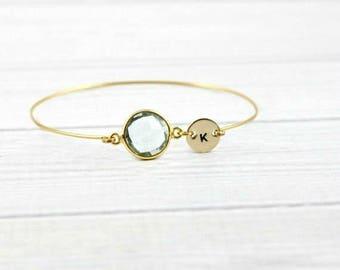 Initial Bracelet, Birthstone Bracelet, Personalized Bracelet, Aquamarine Bracelet, Minimalist Bracelet, Initial Jewelry, Bangle, gold,silver