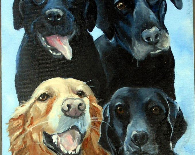 We Are Family! Dog Family Portrait Oil Painting by Artist Robin Zebley
