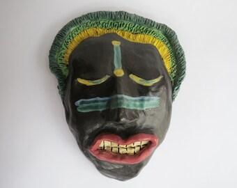 Vintage Ceramic Mask Hand Built Clay Sculpture