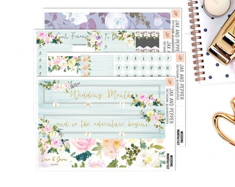 Wedding/Anniversary Monthly Kit || for Erin Condren Life Planner || Planner Stickers