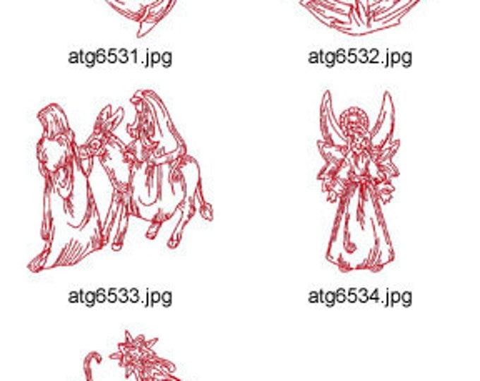 Nativity-Redwork-II ( 5 Machine Embroidery Designs from ATW ) XYZ17M
