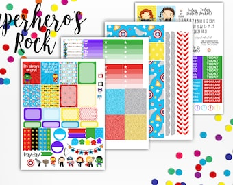 SuperHeros Rock Weekly Planner Sticker Kit - Planner Sampler - for use with Erin Condren - Happy Planner - Avengers - Bright Bold Stickers