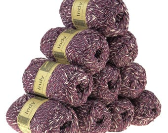10 x 50g recycled yarn Indy, color 252 Merlot