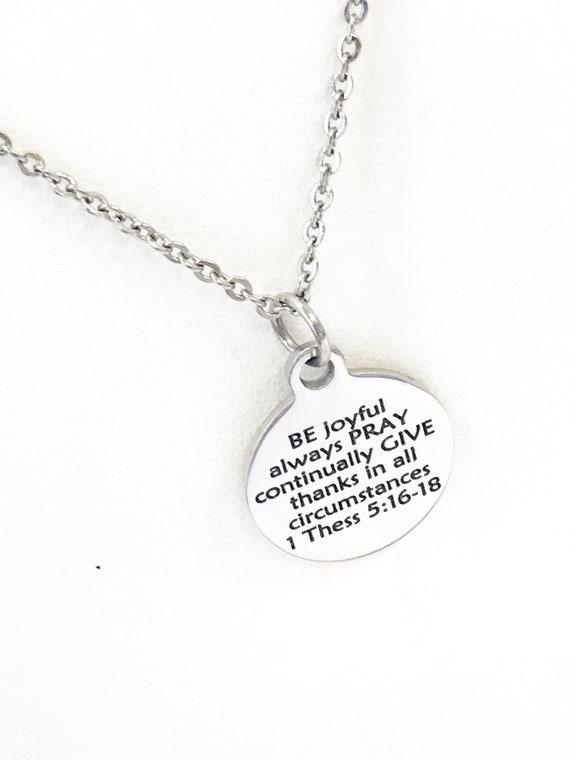 Christian Jewelry, Be Pray Give Necklace, Christian Necklace, Christian Gift, Graduation Necklace, Be Joyful, Always Pray, Give Thanks