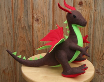 Cherry Tree Dragon Fantasy Plush ~ Stuffed Animal Toy, Earthy Eco Friendly Kids Gift, Natural Dragon Stuffie, Dragon Plushies, Dragon Dolls