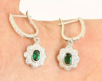 Solid 925 Sterling Silver emerald earrings