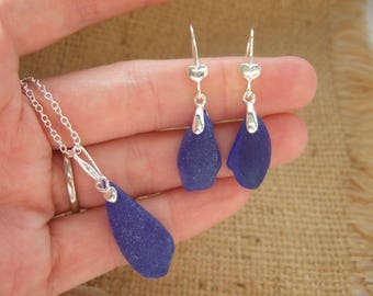 Scottish blue sea glass earring and necklace set, sterling silver blue sea glas jewelry set, light blue sea glass earrings pendant, gift her