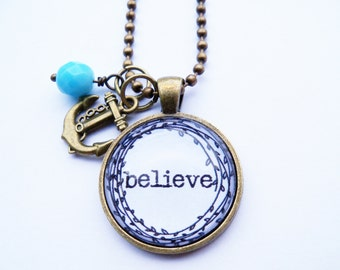 Believe Necklace - One Little Word - Inspirational Pendant - Word Jewelry - Custom Text Jewelry - You Choose Bead and Charm