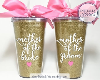 Personalized Mother of the Bride Tumbler, Mother of the Groom Tumbler, Mother of the Bride Gift, Custom Wedding Cups, Monogram Wedding Cup