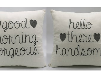 Pillow Covers Embroidered set of 2 Hello Handsome Good Morning Gorgeous Decorative Pillowcase Gifts for Husband wife, couple,Christmas gift