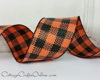 "Halloween Wired Ribbon 2 1/2"", Orange and Black Check - THREE YARDS - Offray ""Drusilla"" Weather Resistant Poly Mesh Plaid Wired Edged Ribbon"
