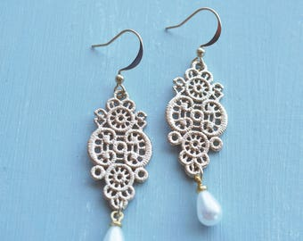 Earrings, gold lace filigree and pearl drop dangle earrings