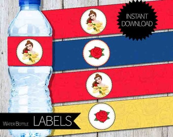 Beauty and the Beast Princess Belle Birthday Party PRINTABLE Water Bottle Labels- Instant Download | Disney | Princess Belle