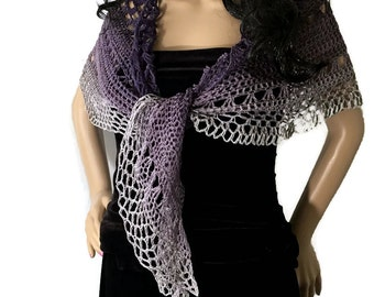 Outlander Ombre Purple to Gray Shawl - Jamie's Amethyst for Claire - Crocheted Fraser Gabaldon FREE SHIPPING